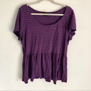 Torrid Short Sleeve Striped Peplum Shirt Purple